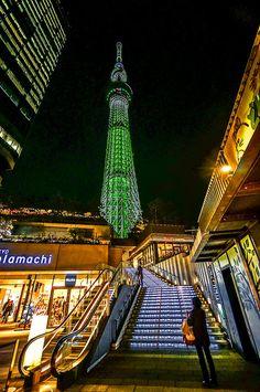 Tokyo Skytree with adjacent shopping street at night, including Solamachi Stores and Studio Ghibli Shop, in Tokyo Japan. Camera Information: Model: Sony Lens: Sony Wide-Angle Zoom Lens OSS Alpha E-mount Tokyo Skytree, Shopping Street, Tokyo Japan, Wide Angle, Studio Ghibli, Empire State Building, The Good Place, Fair Grounds, Night