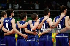 Italy looks on during the anthem during the Men's Gold Medal Match between Italy and Brazil on Day 16 of the Rio 2016 Olympic Games at Maracanazinho on August 21, 2016 in Rio de Janeiro, Brazil.