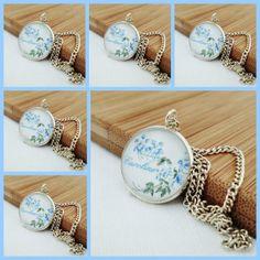 Personalised Bridesmaid Gift Blue Flowers Art Pendant Necklace Gift Set £38.25