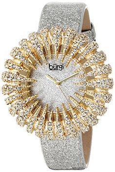 Women's Wrist Watches - Burgi Womens Crystal Accented Yellow Gold Quartz Watch with Silver Dial and Silver Bracelet *** Find out more about the great product at the image link. Elegant Watches, Stylish Watches, Beautiful Watches, Watches For Men, Ladies Watches, Wrist Watches, Zeina, Quartz Watch, Fashion Watches