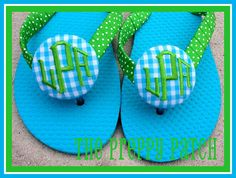 I love every cute thing this gal monograms!!!  Set of 2 Monogrammed Flip Flop Buttons 2 wide by thepreppypatch, $15.00