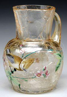 Antique Glassware, Glass Pitchers, Crackle Glass, Glass Company, Antique Auctions, Art Nouveau, Glass Art, Vintage Items, Floral Design