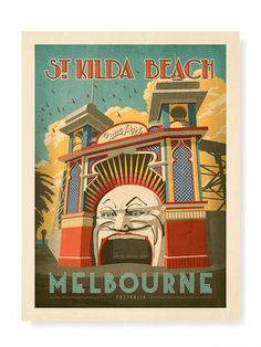 Luna Park St Kilda Beach Print - Melbournalia - Local Goods and Souvenirs from Melbourne Posters Australia, Beach Posters, Vintage Travel Posters, Retro Posters, St Kilda, All Poster, Poster Prints, Beach Print, Large Prints