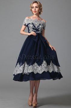 Vintage Azul Vestido al Tibia Clasico Hombro Caido (04151905)