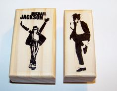 MICHAEL JACKSON Lot of 2 Brand New Mounted Rubber Stamps -Im Bad, The Ultimate Michael #etsy #gifts