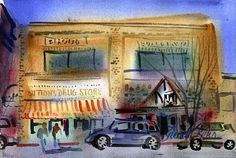 "SUTTON'S, 6x9"" watercolor, Franklin Street, Chapel Hill, NC"