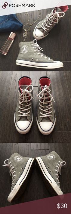 """CONVERSE High Top Sneakers Size 7 """"like new"""" condition sneakers. Two layers on the outside and the tongue so you can fold the outer layer (see photo). Has a rope like design for the shoelaces. Perfect to match with any casual outfits. Converse Shoes Sneakers"""
