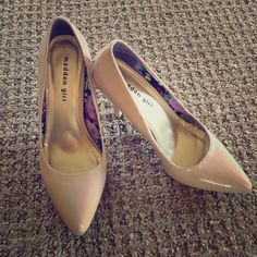"""Madden Girl Beige Heels Madden Girl Size 8 Patent Leather Shoes. Worn Once. In perfect shape!  they have a 4"""" heel. Very Comfortable Shoes! Madden Girl Shoes Heels"""