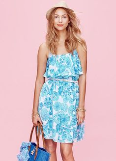 Every Single Piece From The Lilly Pulitzer x Target Collection #refinery29  http://www.refinery29.com/2015/03/84530/lilly-pulitzer-target-collaboration-lookbook#slide-14  Lilly Pulitzer for Target Satin Flounce Dress - Sea Urchin For You$38; Straw Fedora - Gold, $20; Raffia Tote Bag - My Fans, $30; Charm Bracelet - Gold, $20, available at Target.
