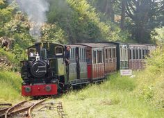 5/29/2016: Andrew Barclay 0-4-2T Tom Rolt pulls a train of mixed Talyllyn Railway, Corris Railway, and Glyn Valley Tramway carriages past the Brynglas loop's limit of shunt.