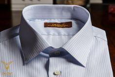 Sky Blue Regimental Stripe Twill Dress Shirt With Single Button Straight Cuffs