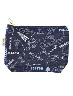 $25 Maptote - Zipped Makeup Pouch Denim with Light Blue