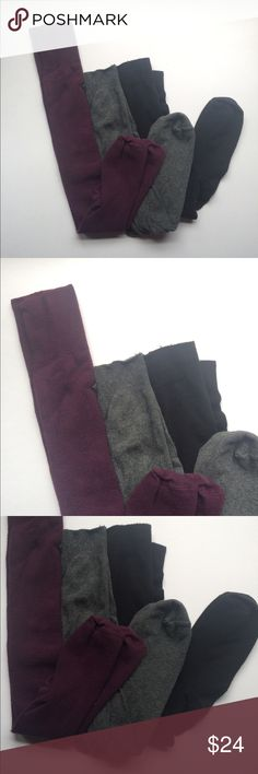 """Hue Fashion Sock Bundle • Knee High + Thigh High Three pairs of socks in sparingly worn good condition. The burgundy pair is by """"Sock Shoppe"""" in Santa Cruz, CA. These were only worn 2-3 times. The charcoal and black pairs are knee high length and are by Hue and were worn a handful of times each. Little to no pilling on any of them. They are all relatively thin, and feature ribbed tops to help hold them in place. Adorable with dresses, skirts, or even shorts or overalls! HUE Accessories…"""