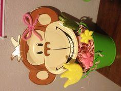 DIY girl monkey centerpiece