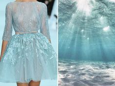 Fashion & Nature in Photography: Russian artist Liliya Hudyakova compares famous designers' dresses with nature. - Elie Saab S/S 2012 & Tropical Beach. Elie Saab, Emilio Pucci, Fashion Paintings, Look Fashion, Fashion Art, High Fashion, Dress Fashion, Beach Fashion, Runway Fashion