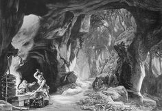 Photograph (1876), by by Victor Angerer (1839-1894), of the set design by Josef Hoffman (1831-1904), for Act 1, Scene 3, of Siegfried (1871), by Richard Wagner (1813-1883).