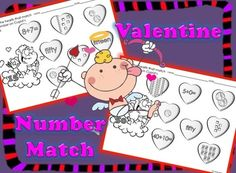 FREE  Valentine's Day Number Match. 10 ready to use time saving printables that will help your students review numbers, number words, tally marks, money, and adding. Your students see a number on Cupid's cloud and color hearts that have corresponding representations of that number. 12 pages