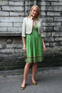 Green, urban/chic bohemian, casual for business and daywear