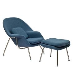 Eero Saarinen Style Blue Tweed Chair/ Ottoman Set - Overstock™ Shopping - Great Deals on Modway Living Room Chairs