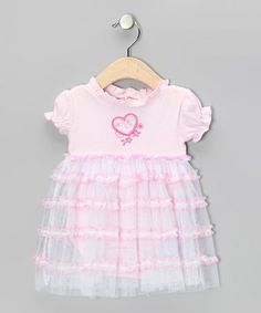 Take a look at this Pink Flower Heart Ruffle Dress Bodysuit by Tender Toes on #zulily today!