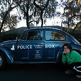 Someone surprised her by parking the TARDIS outside! And, for the record, Beetles are bigger on the inside!