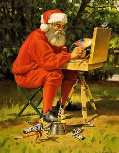 Santa's Time Off by Tom Browning Christmas Puppy, Father Christmas, Santa Christmas, Christmas Pictures, Christmas Ideas, Christmas Posters, Winter Pictures, Christmas Things, Christmas Design