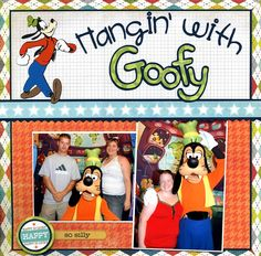 Hangin' With Goofy - Scrapbook.com - What a fun and colorful layout. #scrapbooking #layouts #disney #bazzillbasics #provocraft