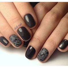 Would you like to see an elegant manicure on your nails? Black gel nail polish always comes to your help. Even if you can't show your long nails, dark nail polish looks perfect on the short. Form your nails into a round shape. Cover them with a nail polish. Draw the acrylic pattern with the grey a…
