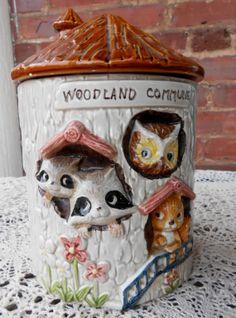 Love this cookie jar!  Woodland Cookie Jar / Vintage Wooldand Commune by LindsaysList, $149.00