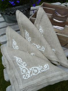 Image of Natural Linen Embroidered Napkins Set of 4