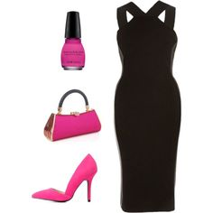 Little Black Dress Pop of Pink Accesories by joyeuxun on Polyvore featuring polyvore, fashion, style, River Island and Charlotte Russe