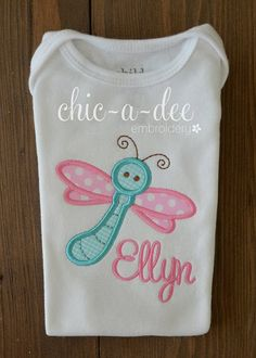 Personalized Dragonfly Applique by ChicADeeEmbroidery on Etsy