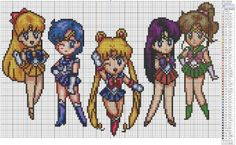 Sailor Moon – Sailor Scouts 150-160 x 90-100, Ami/Sailor Mercury, Anime and Manga, Birdie's Patterns, Lita/Sailor Jupiter, Mina/Sailor Venus, Rei/Sailor Mars, Sailor Moon, Serena/Sailor Moon Comments Jun 292014