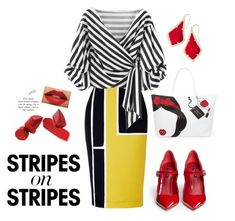 """""""Think Stripes"""" by laceyherring-1 ❤ liked on Polyvore featuring Disney, Dolce&Gabbana, Kendra Scott, stripesonstripes and PatternChallenge"""