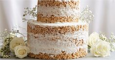 Very few no-bake desserts can rival this wedding cake made entirely out of Rice Krispies (plus vanilla buttercream icing). How To Make Gelatin, How To Make Cake, Vanilla Buttercream Icing, Vanilla Cake, Best Dessert Recipes, No Bake Desserts, Wedding Cake Flavors, Wedding Cakes, Gelatin Bubbles