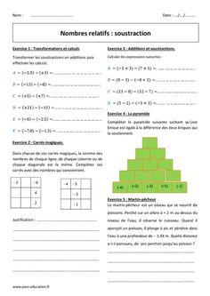 Nombres relatifs - Soustraction - 5ème - Exercices à imprimer - Pass Education