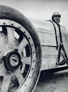 Louis Chiron in his Bugatti, Paris, 1928 // Photo by  Maurice Tabard