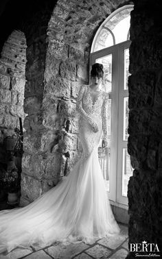 2014 New Sexy Berta Appliques Deep V Neck Mermaid Wedding Dress Open Back Long Sleeve Lace Tulle Bridal Gowns With Train ZY1169