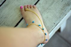 Anklet  Toe Ring with Turquoise Beads by NativeLivingJewelry, $35.00