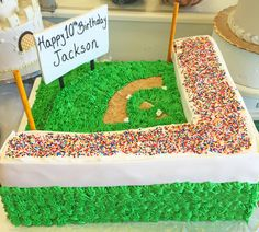 A baseball field birthday cake! Sports Themed Cakes, Baseball Field, Birthday Cake, Parties, Fiestas, Birthday Cakes, Baseball Park, Fiesta Party, Receptions