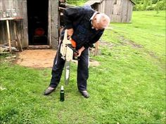 Opening Beer with Chainsaw  #manly