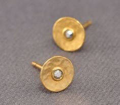 Stud earrings  gold plated hammered circle and clear by tuliya, $26.00