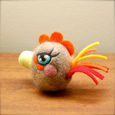 Needle Felted One of a Kind Rooster Egg Doll by asherjasper, $35.00
