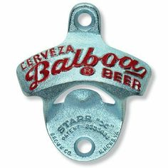 """Embossed Cerveza Balboa STARR """"X"""" bottle opener by Brown Mfg. $9.95. Starr X Wall Mount Opener. Mounting screws included. Zinc plated cast iron. Balboa Beer Starr X metal wall mounted stationary bottle opener: CERVEZA BALBOA BEER. Great Panamanian Pale Lager Beer. The original Starr X zinc plated cast iron opener. About 3.25 inches high. New in gift box. Screws included. Raised embossed letters with red paint. Perfect for the kitchen or bar."""