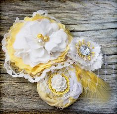 Yellow White Hair Bow Hair Accessories Fabric by CrowningPetals, $26.50