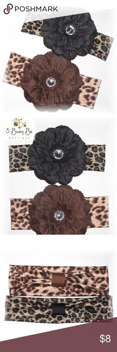 Set of 2 Dhalia Flower Animal Print Headbands ♥♥♥♥♥SET OF 2 Dhalia FLOWER ANIMAL PRINT HEADBANDS♥♥♥♥♥     ♥THE FLOWERS ARE APPROX 4.5 INCHES WIDE    ♥HEADBANDS ARE A SOFT  LYCRA STRETCH    ♥FLOWER IS ON A PARTIALLY LINED ALLIGATOR CLIP AND THE HEADBAND HAS A RIBBON LOOP TO ALLOW THE CLIP TO COME ON AND OFF EASILY. ALL PIECES ARE FULLY INTERCHANGEABLE!     ONE SIZE FITS ALL     WILL FIT APPROX 2YRS AND UP   YOU WILL RECEIVE ONE BROWN FLOWER HEADBAND AND ONE BLACK FLOWER HEADBAND! Accessories…