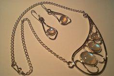 Rainbow moonstone pendant and earrings… – ELELTA