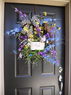 French Country Wreath ~ MacKenzie-Childs Ribbon  by Pebble Creek Wreaths