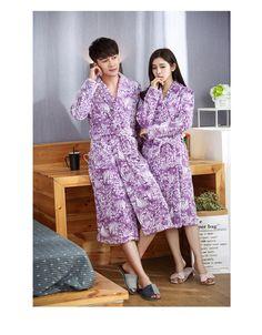 Couple Bathrobe Winter Flannel Thicken Warm Sleepwear Robe Dressing Gowns For Women Lingerie Robe Longue Femme Couple Pajamas, Women Lingerie, Flannel, Dressing, Gowns, Mens Fashion, Warm, Shirt Dress, Couples