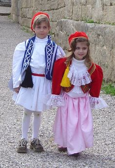 Greek children in original greek costumes